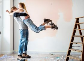 Picture of young couple renovating